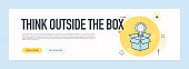Think Outside The Box Concept - Flat Line Web Banner