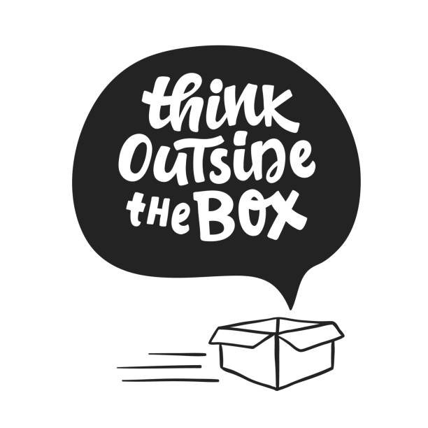 Think outside the box concept. Inspirational saying Think outside the box concept. Inspirational saying. Freehand lettering. Hand written motivational phrase for typography poster, tee shirt print, gift card. short phrase stock illustrations
