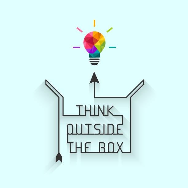 think outside the box concept - creativity stock illustrations
