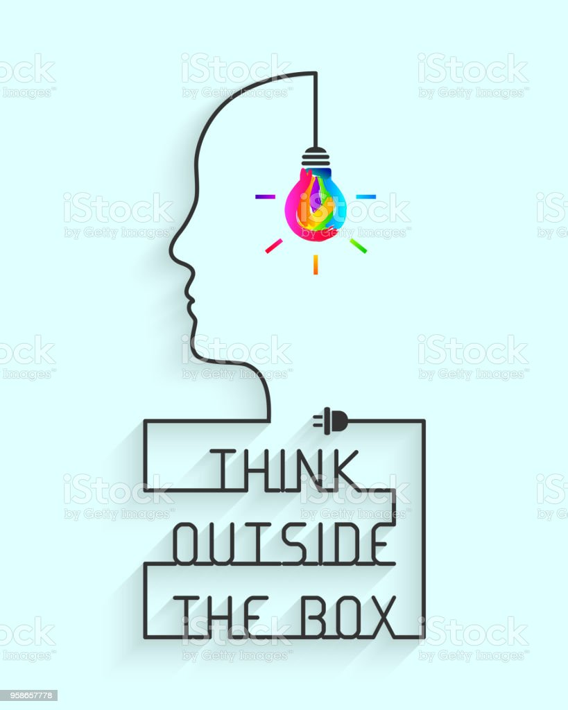 Think Outside The Box Concept With Colorful Lightbulb Stock Vector ...
