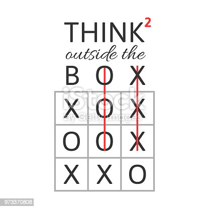 Think outside the box concept with tic-tac-toe game and squared symbol isolated on white background