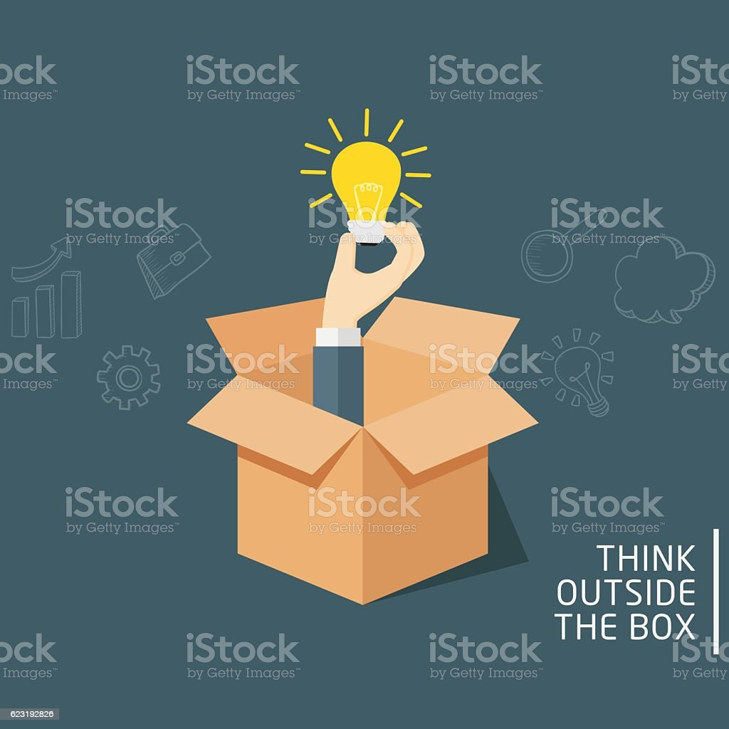 Think Outside The Box vector art illustration