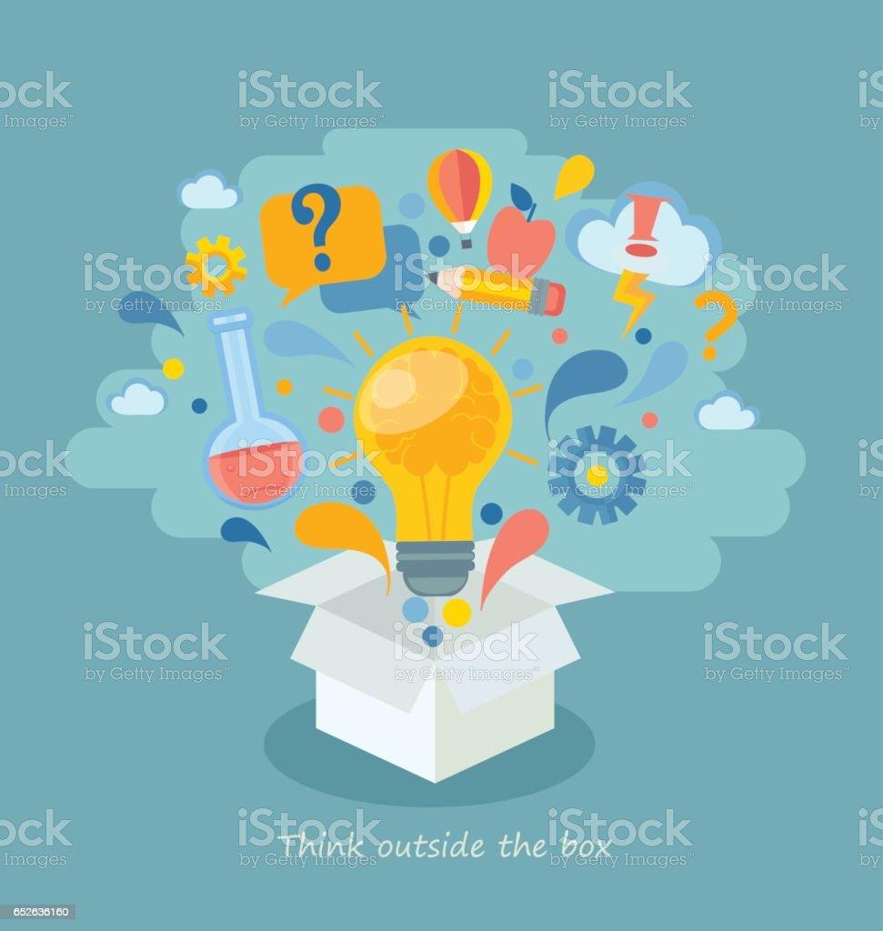 Think Outside The Box Vector Illustration Stock Illustration