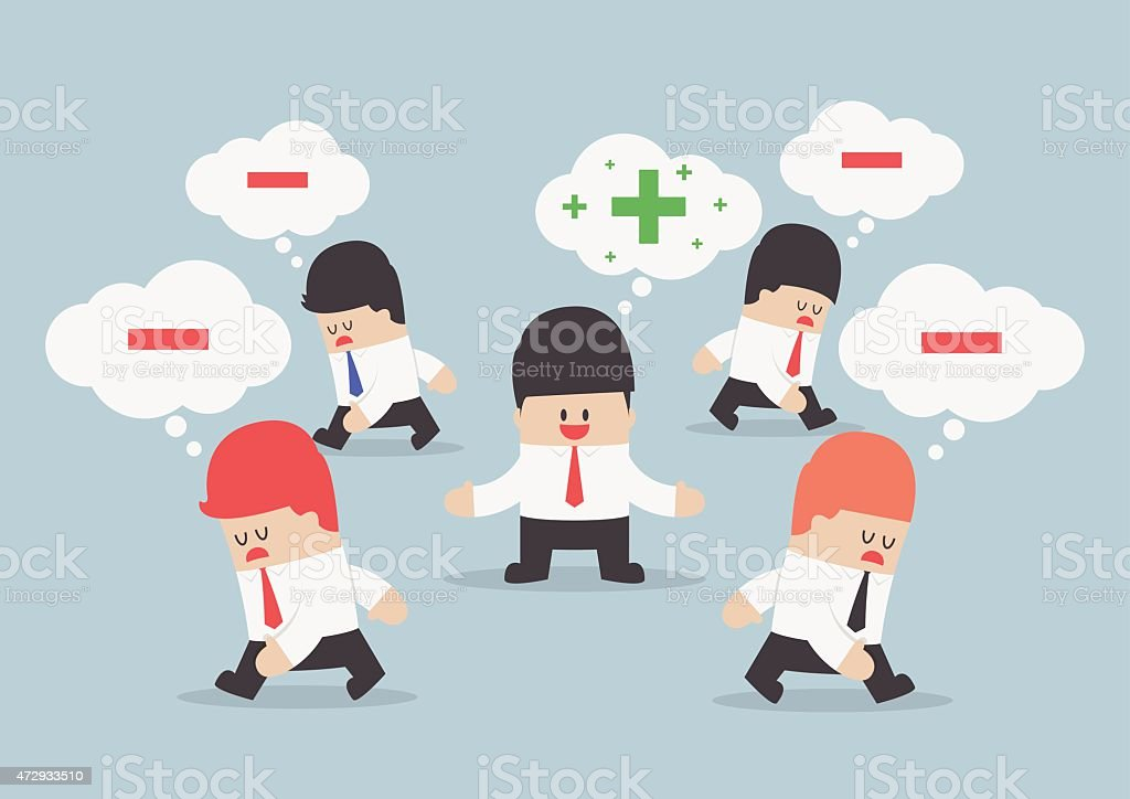 Think positive businessman surrounded by negative thinking people vector art illustration
