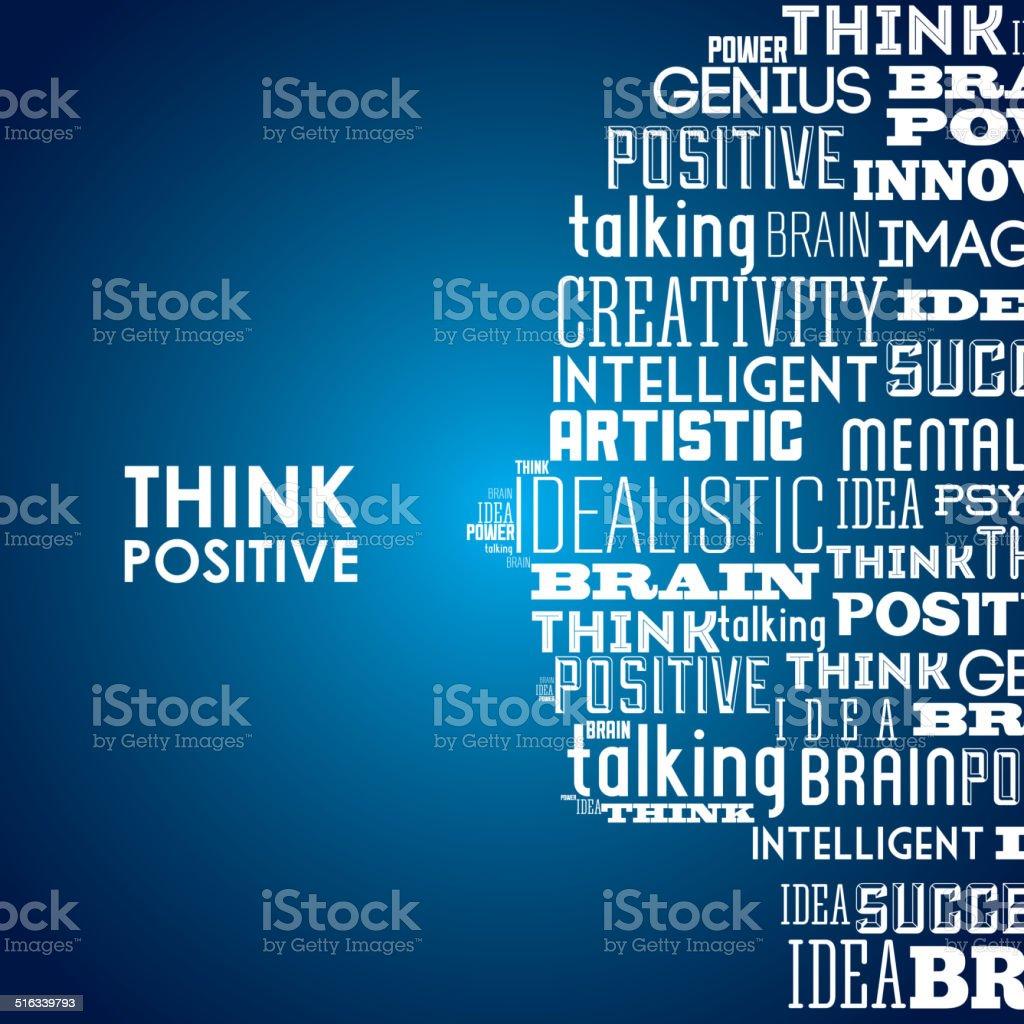 think positive design vector art illustration