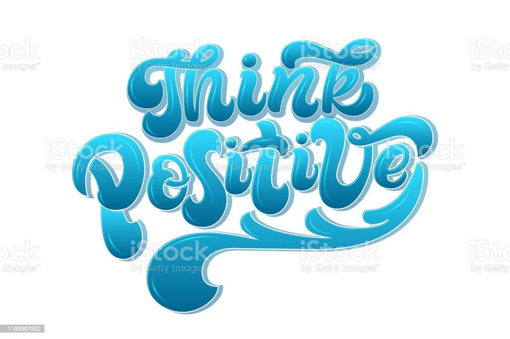 Ilustración De Piense En Letras Dibujadas A Mano Positivas