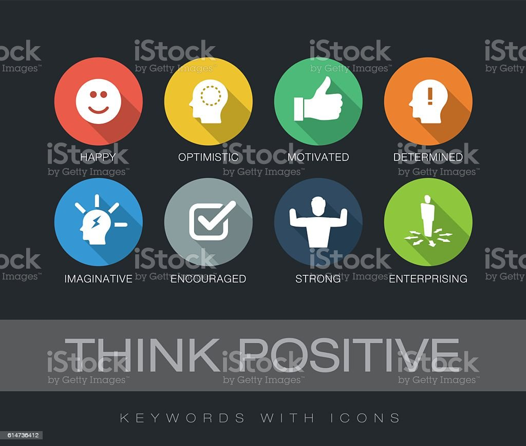 Think Positive keywords with icons vector art illustration