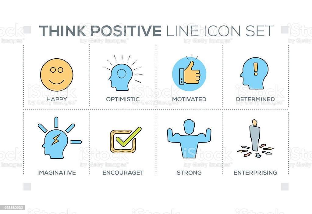 Think Positive keywords with line icons vector art illustration