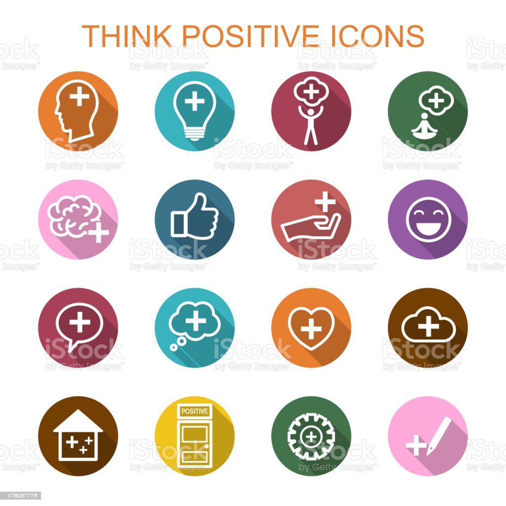 think positive long shadow icons vector art illustration