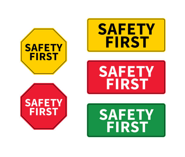 Think safety first logo, icon, symbol. Vector eps sign. Safety First octagonal and rectangular shape. Industrial sign. Yellow square warning. vector art illustration