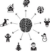 Conceptual illustration representing a brain surrounded by Christmas related symbols.