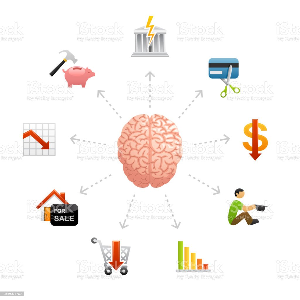 Thinking About Financial Crisys royalty-free stock vector art