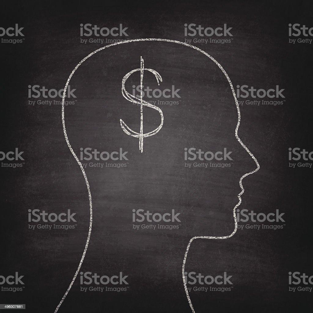 Thinking about money on Blackboard - Chalkboard royalty-free stock vector art