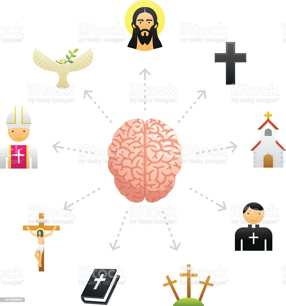 Thinking About Religion royalty-free stock vector art