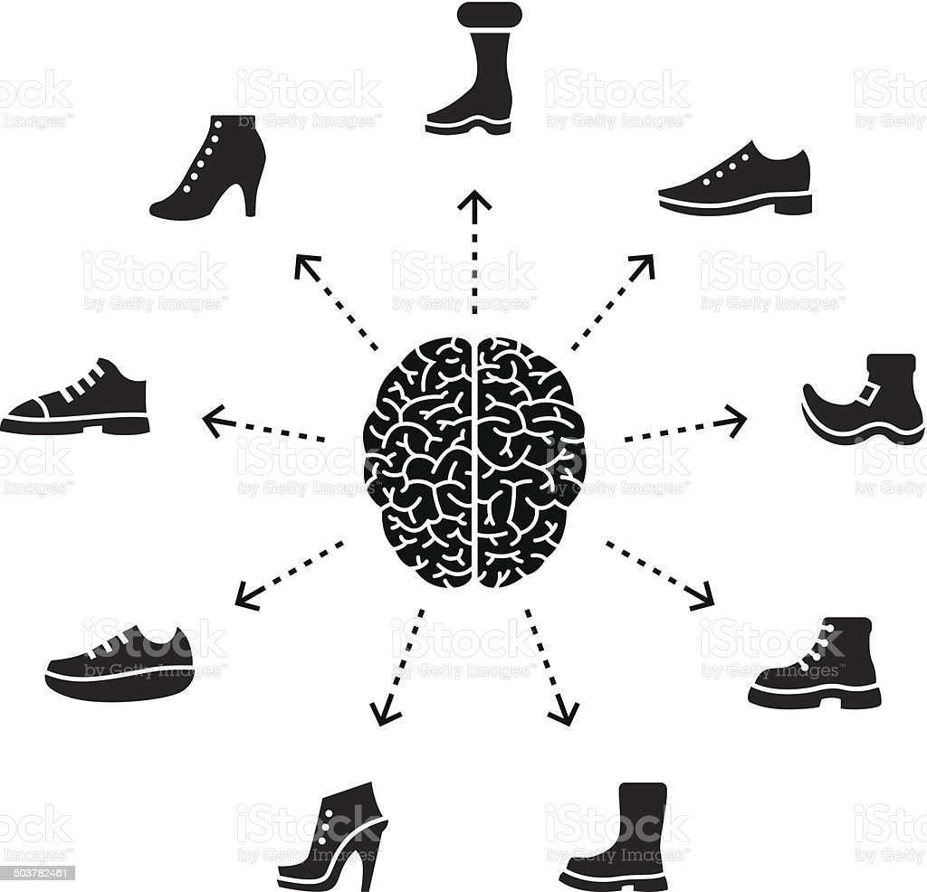 Thinking About Shoes Stock Vector Art & More Images of Anatomy ...