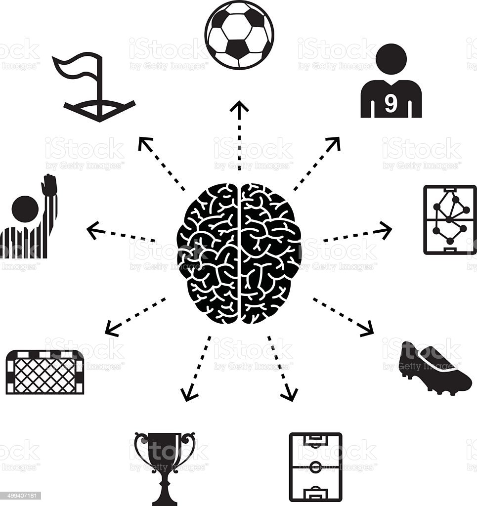 Thinking About Soccer vector art illustration