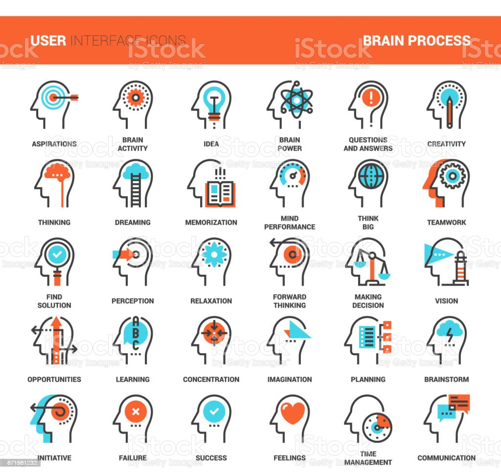 Thinking and brain process vector art illustration