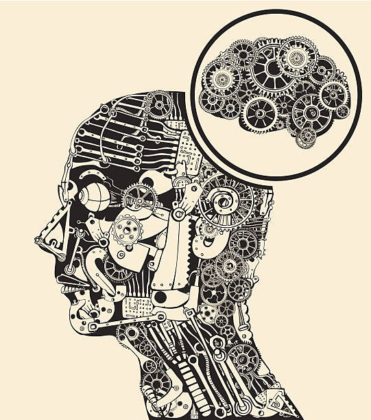 Thinking at the missing part. Gears mind. vector art illustration