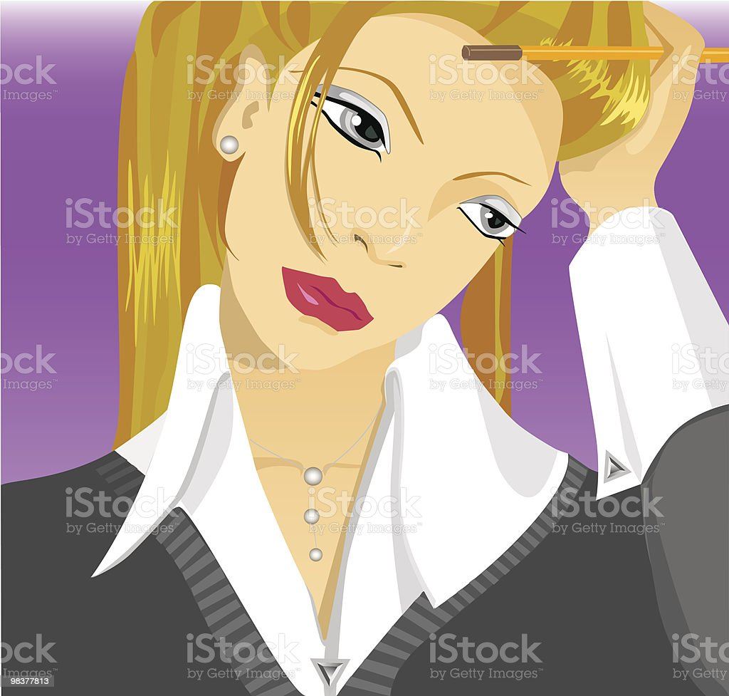 Thinking Blonde royalty-free thinking blonde stock vector art & more images of adult