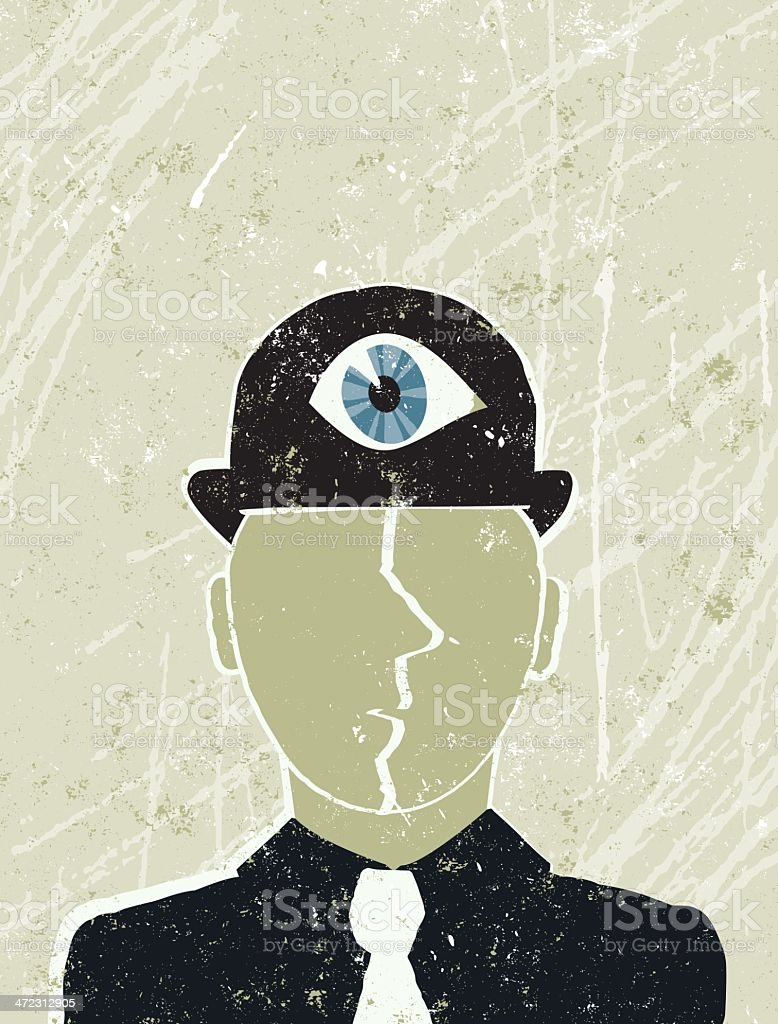 Thinking Business Man with an Eye on his Hat royalty-free stock vector art