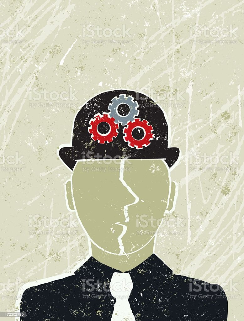 Thinking Business Man with Industrial Cogs on his Hat royalty-free stock vector art