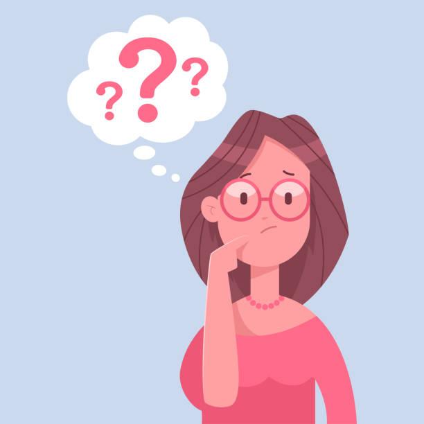stockillustraties, clipart, cartoons en iconen met zakelijke vrouw teken te denken. vectorillustratie cartoon van een vrouw met een vraagteken geïsoleerd op een witte achtergrond. - verwarring