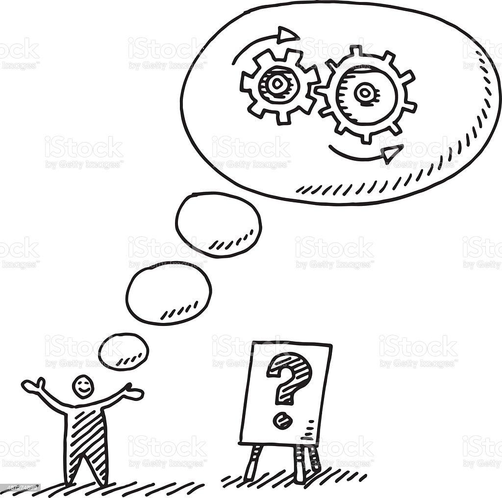 Denken Geschäftsmann Zeichnung Getriebe Gedankenblase ...