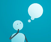 Thinking character looking at thought bubble. Vector illustration