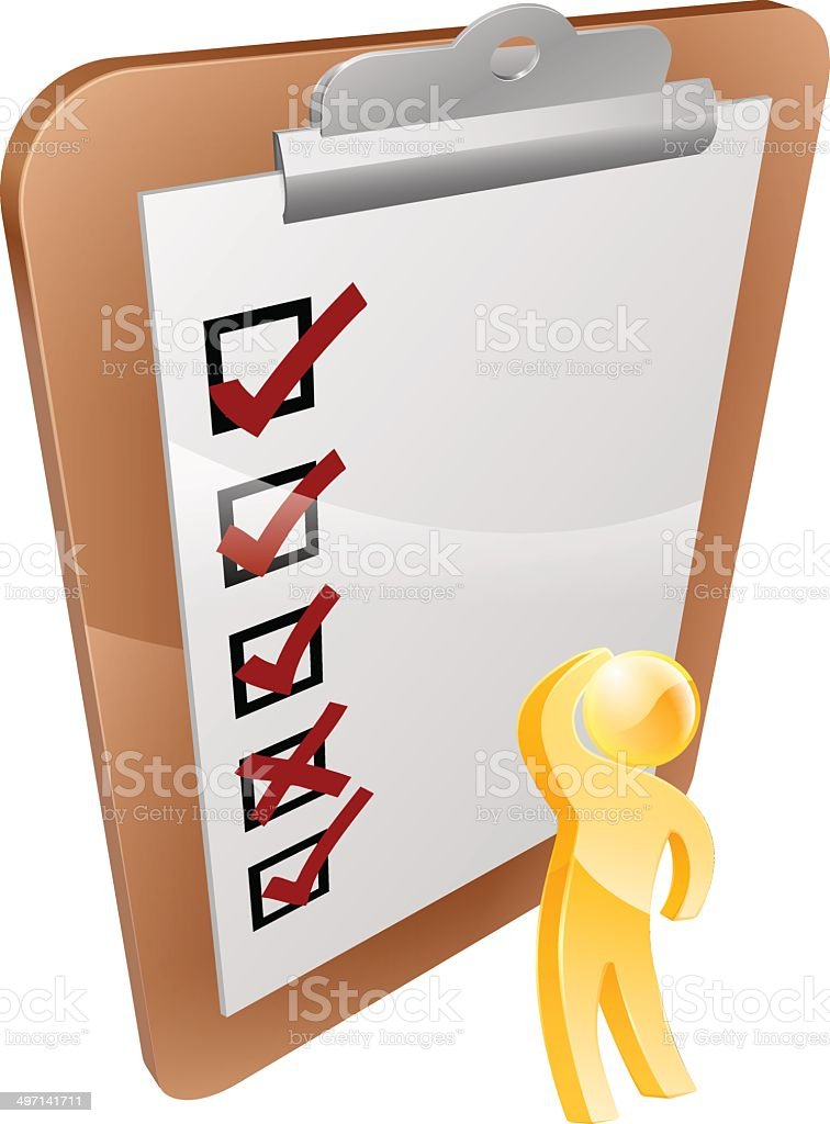 Thinking clipboard person royalty-free stock vector art