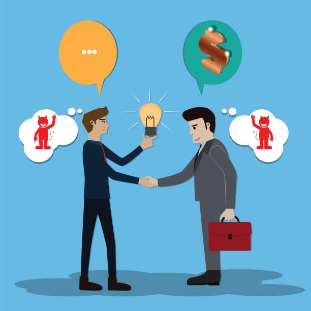 konzept, zwei geschäftsleute sprechen denken und denken sie, dass teufel - vektor-illustration - vertrauensbruch stock-grafiken, -clipart, -cartoons und -symbole