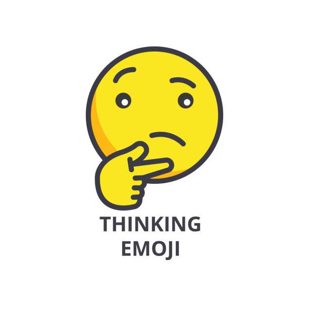 thinking emoji vector line icon, sign, illustration on background, editable strokes - confused emoji stock illustrations, clip art, cartoons, & icons
