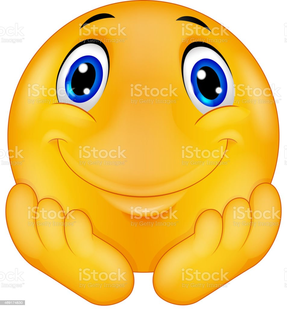 Thinking emoticon smiley cartoon vector art illustration