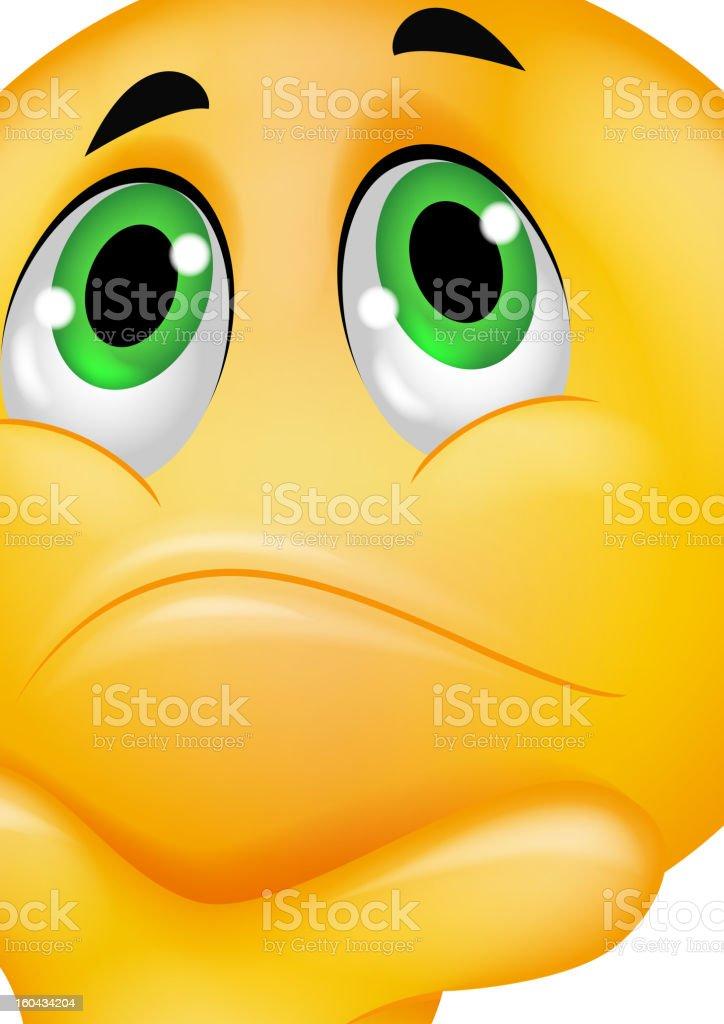 Pensando emoticon - ilustração de arte em vetor
