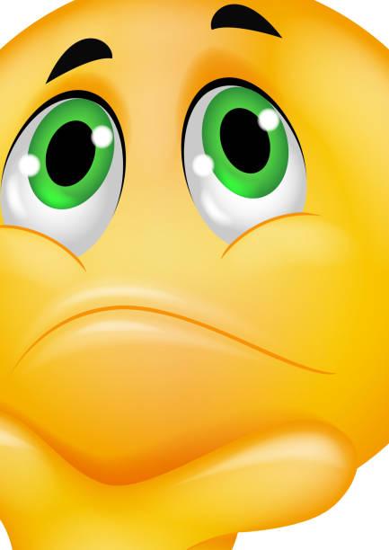 ilustraciones, imágenes clip art, dibujos animados e iconos de stock de pensar emoticono - emoji confundido