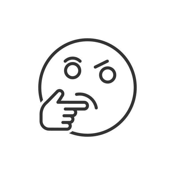 ilustraciones, imágenes clip art, dibujos animados e iconos de stock de icono de cara de pensamiento en estilo plano. ilustración de vector de emoticono de sonrisa sobre fondo blanco aislado. concepto de negocio de carácter. - emoji confundido