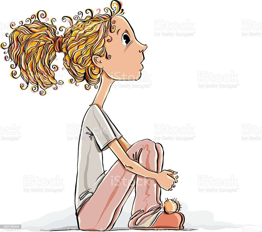 Thinking girl sitting vector illustration with place for for Boden cartoon