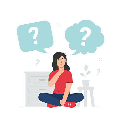 Thinking girl with speech bubbles and question mark. Doubts, problem, curious, confused