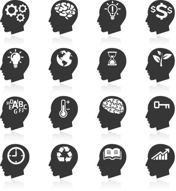Thinking Heads Icons. Thinking Heads Icons. book silhouettes stock illustrations