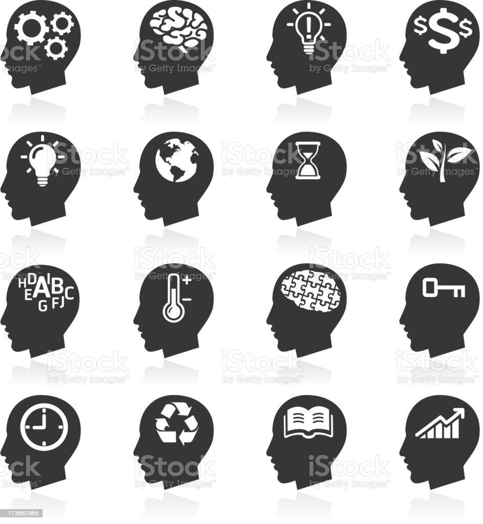 Thinking Heads Icons. vector art illustration