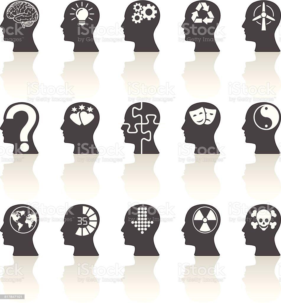 Thinking Heads Icons vector art illustration