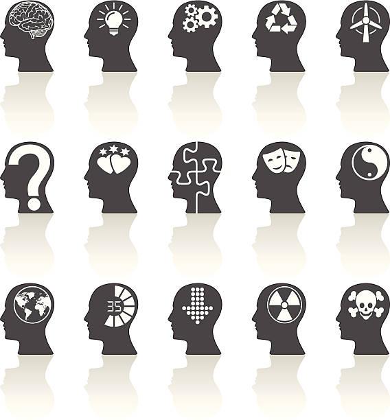 denken leitet icons - kopfleuchten stock-grafiken, -clipart, -cartoons und -symbole