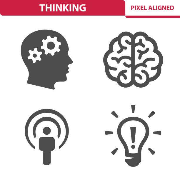 ilustrações, clipart, desenhos animados e ícones de ícones do pensamento - cabeça