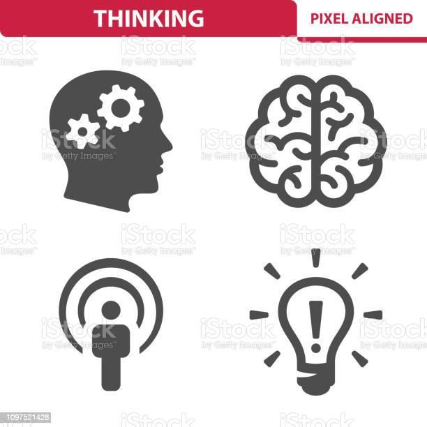 Thinking Icons — стоковая векторная графика и другие изображения на тему Без людей