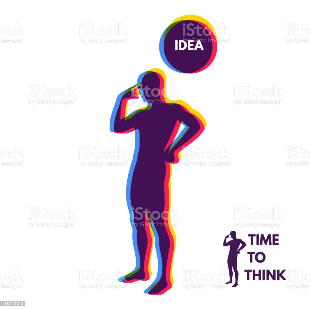 Thinking man. Silhouette of a standing man. Idea concept vector illustration. vector art illustration
