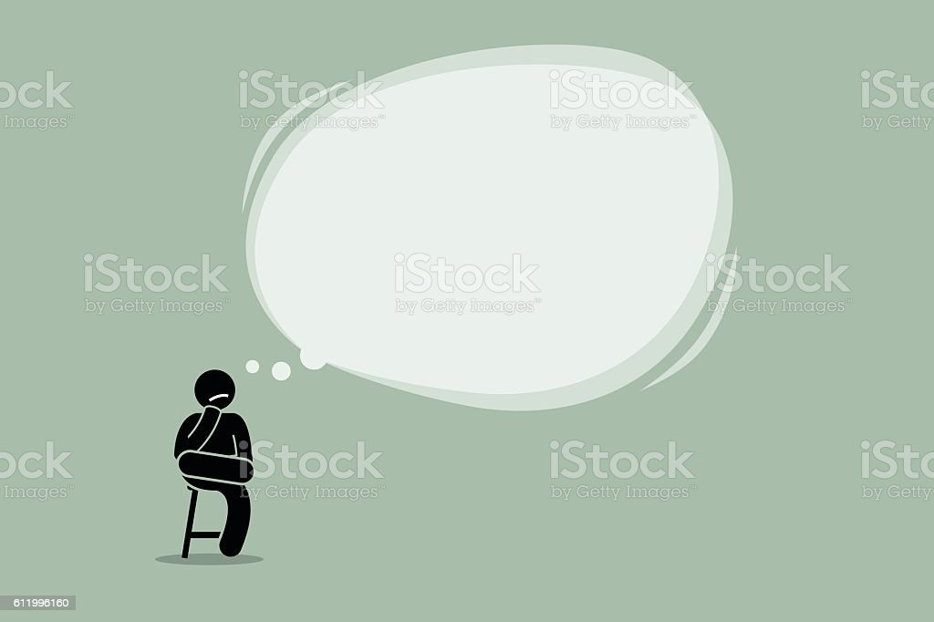 Thinking man sitting on a chair vector art illustration