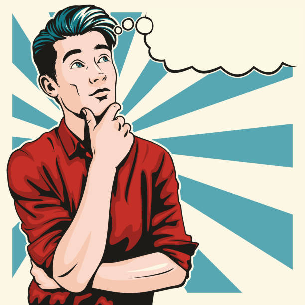 Thinking Man vector art illustration
