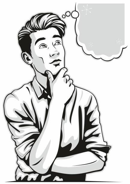 Thinking Man vector art illustration