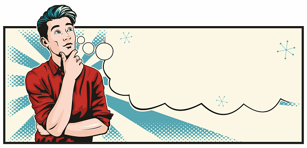 Retro style pop art illustration of a handsome young man standing in deep thought. With an empty thought bubble which can easily be removed or with space for your text.