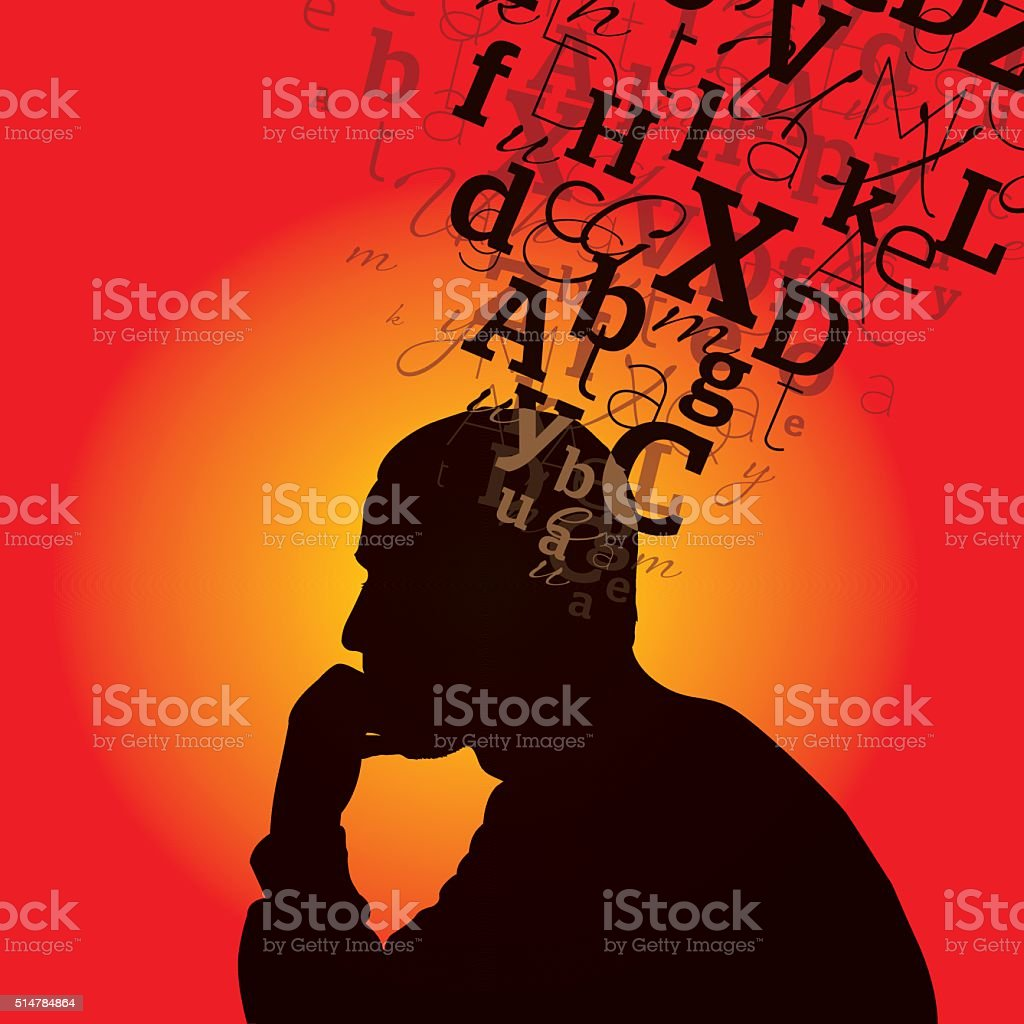 Thinking man with words on his head vector art illustration