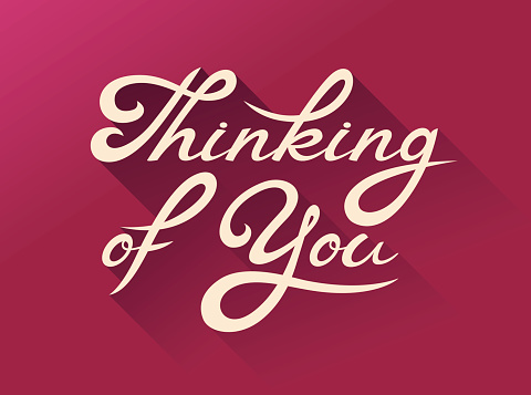 Thinking of You - love calligraphy card